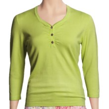 Casual Studio Ruched Henley Shirt - 3/4 Sleeve (For Women) in Island Green - Closeouts