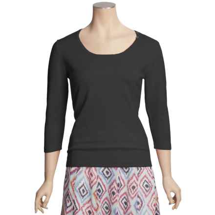 Casual Studio Shell Button Sweater - Round Neck, 3/4 Sleeve (For Women) in Black - Closeouts