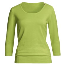 Casual Studio Shell Button Sweater - Round Neck, 3/4 Sleeve (For Women) in Island Green - Closeouts