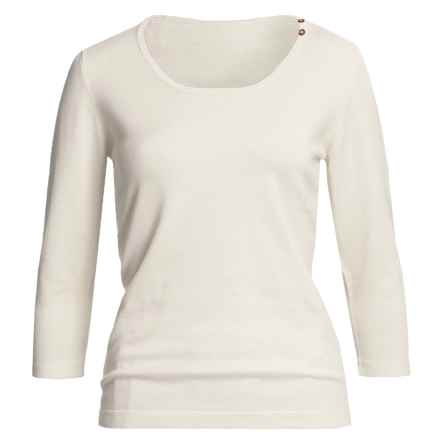 Casual Studio Shell Button Sweater - Round Neck, 3/4 Sleeve (For Women) in Off White - Closeouts