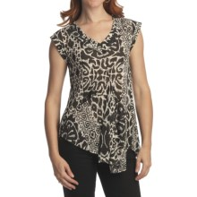 Casual Studio Shirred V-Neck Shirt - Sleeveless (For Women) in Black/Ecru - Closeouts