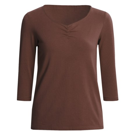 Casual Studio Shirred V-Neck Shirt - Stretch Cotton, 3/4 Sleeve (For Women) in Coffee