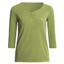 Casual Studio Shirred V-Neck Shirt - Stretch Cotton, 3/4 Sleeve (For Women) in Olive - Closeouts