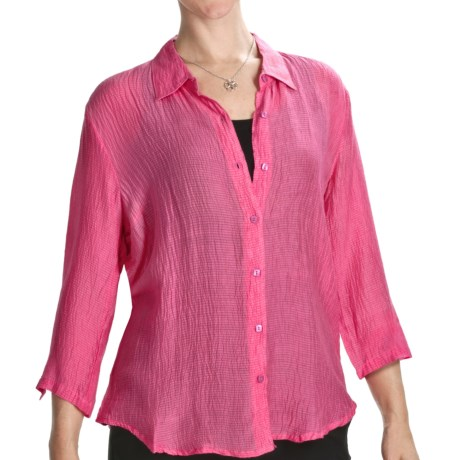 Casual Studio Silk Blend Shirt - 3/4 Sleeve (For Women) in French Rose