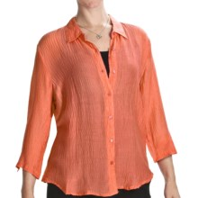 Casual Studio Silk Blend Shirt - 3/4 Sleeve (For Women) in Orange - Closeouts