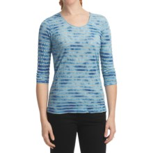 Casual Studio Stripe Shirt - Scoop Neck, 3/4 Sleeve (For Women) in Blue - Closeouts