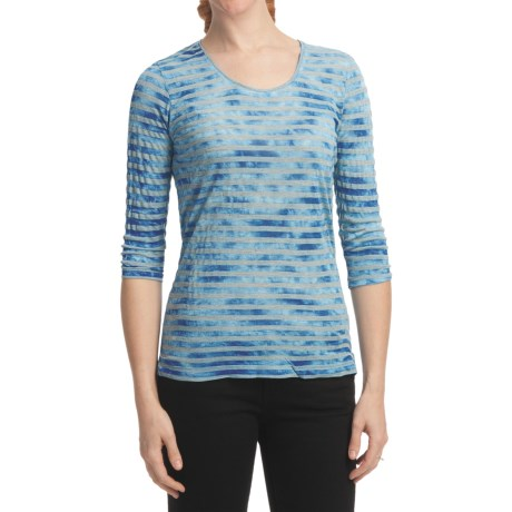 Casual Studio Stripe Shirt - Scoop Neck, 3/4 Sleeve (For Women) in Blue