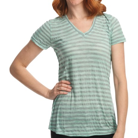 Casual Studio Stripe V-Neck T-Shirt - Short Sleeve (For Women) in Aqua