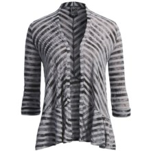 Casual Studio Striped Cardigan Sweater - 3/4 Sleeve (For Women) in Black/Grey - Closeouts