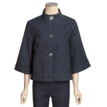 Casual Studio Swing Jacket - Stretch Denim, Mock Neck, 3/4 Sleeve (For Women) in Indigo - Closeouts