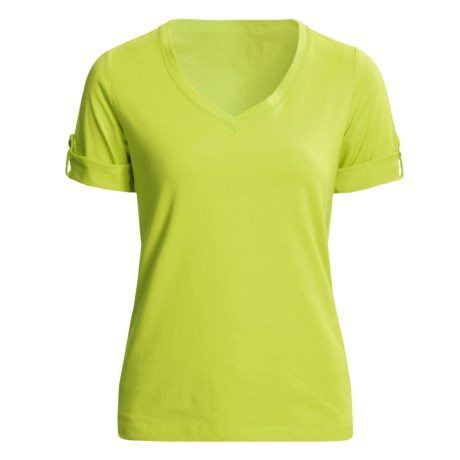 Casual Studio V-Neck T-Shirt - Stretch Cotton, Short Sleeve (For Women) in Green Glow