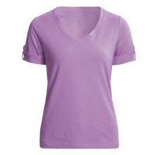 Casual Studio V-Neck T-Shirt - Stretch Cotton, Short Sleeve (For Women) in Iris - Closeouts
