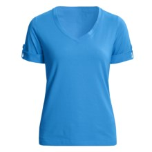 Casual Studio V-Neck T-Shirt - Stretch Cotton, Short Sleeve (For Women) in Pacific Blue - Closeouts