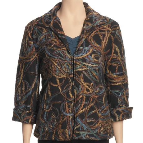 Casual Studio Yarn-Embellished Jacket (For Women) in Blue/Brown