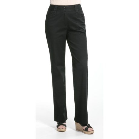 Casual Studios Low Waist Pants - Stretch Cotton (For Women) in Coffee