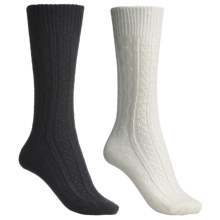 Catawba Outdoor Supply Angora-Blend Solid Socks - 2-Pack, Crew (For Women) in Ivory/Black Cable - Closeouts
