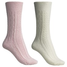 Catawba Outdoor Supply Angora-Blend Solid Socks - 2-Pack, Crew (For Women) in Ivory/Pink Cable - Closeouts