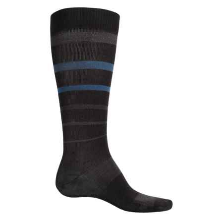 Catawba Stripe Compression Socks - Over the Calf (For Men and Women) in Black/Blue - Closeouts
