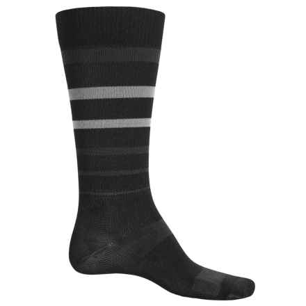 Catawba Stripe Compression Socks - Over the Calf (For Men and Women) in Black/Grey - Closeouts