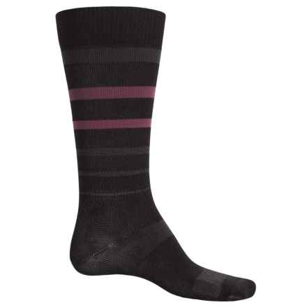 Catawba Stripe Compression Socks - Over the Calf (For Men and Women) in Black/Pink - Closeouts