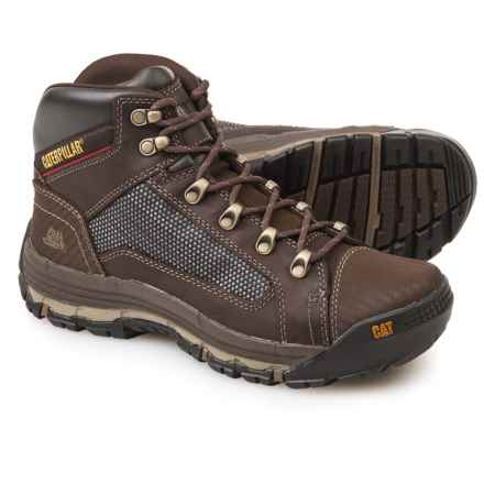 Caterpillar Convex Mid Work Boots - Leather (For Men) in Dark Beige - Closeouts