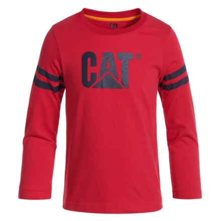 Caterpillar Logo T-Shirt - Long Sleeve (For Toddlers and Little Boys) in Flame - Closeouts