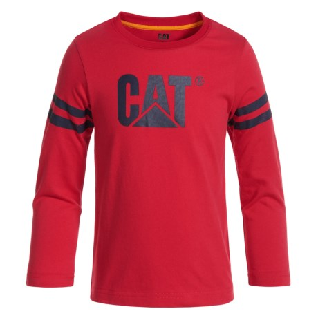 Caterpillar Logo T-Shirt - Long Sleeve (For Toddlers and Little Boys) in Flame