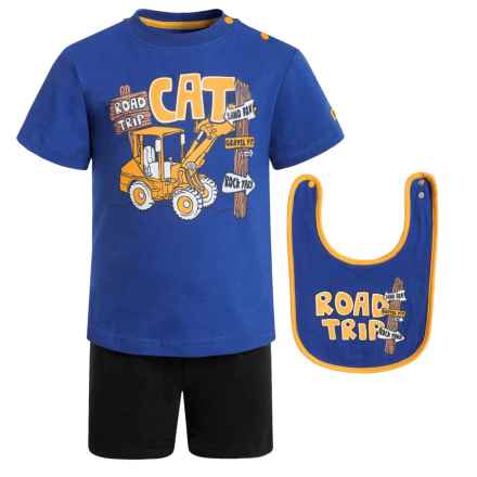 Caterpillar Road Trip T-Shirt, Shorts and Bib Set - 3-Piece, Short Sleeve (For Infants) in Lapis - Closeouts