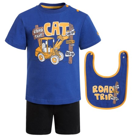 Caterpillar Road Trip T-Shirt, Shorts and Bib Set - 3-Piece, Short Sleeve (For Infants) in Lapis