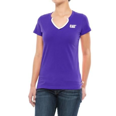 Caterpillar Trademark T-Shirt - V-Neck, Short Sleeve (For Women) in Morning Glory