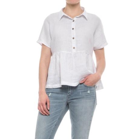 Catherine Catherine Malandrino Buttoned Linen Peplum Shirt - Short Sleeve (For Women) in White