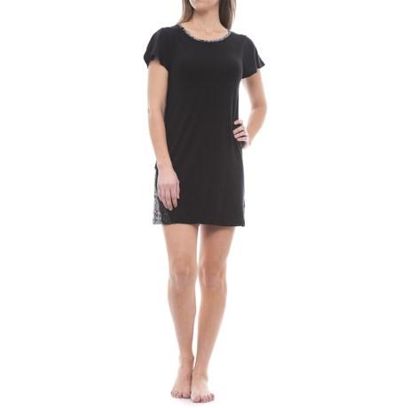 Catherine Catherine Malandrino Catherine Malandrino Eyelash Sleep Shirt - Short Sleeve (For Women) in Black Geo Scroll