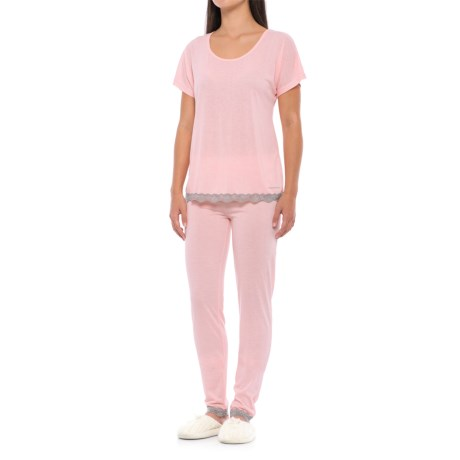 Catherine Catherine Malandrino Catherine Malandrino Lace-Trim Pajamas - Straight Leg, Short Sleeve (For Women) in Crystal Rose