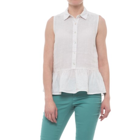 Catherine Catherine Malandrino Flouncy Linen Shirt - Sleeveless (For Women) in Old Lace/Ivory