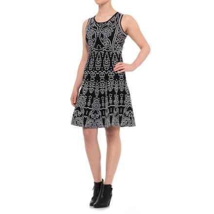 Catherine Catherine Malandrino Moroccan Jacquard Fit-and-Flare Dress - Sleeveless (For Women) in Black/Bleach White - Closeouts