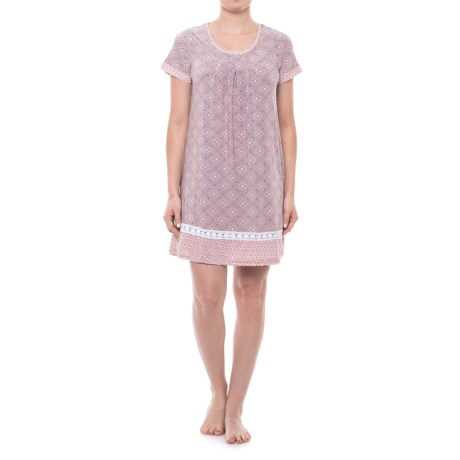 Catherine Catherine Malandrino Printed Nightshirt - Short Sleeve (For Women) in Pink Baroque