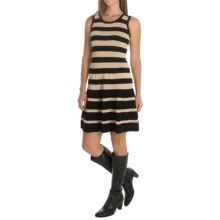 Catherine Catherine Malandrino Striped Sweater Dress - Sleeveless (For Women) in Black/Champagne - Overstock