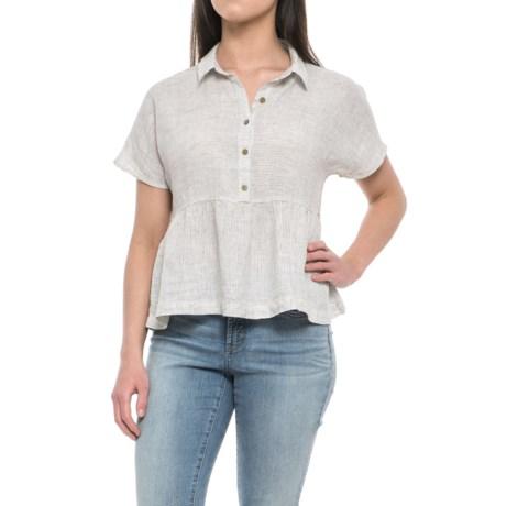 Catherine Catherine Malandrino Yarn-Dyed Stripe Peplum Shirt - Linen, Short Sleeve (For Women) in Alabama Stripe