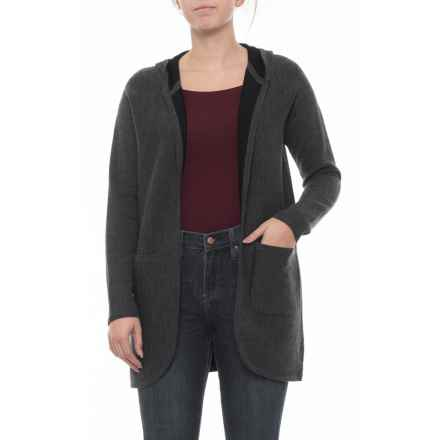 Catherine Malandrino Cardigan with Patch Pockets - Merino Wool, Long Sleeve (For Women) in Charcoal - Closeouts