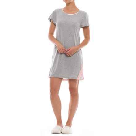 Catherine Malandrino Eyelash Sleep Shirt - Short Sleeve (For Women) in Vintage Rose - Closeouts