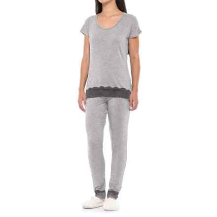 Catherine Malandrino Lace-Trim Pajamas - Straight Leg, Short Sleeve (For Women) in Lightheather Grey - Closeouts