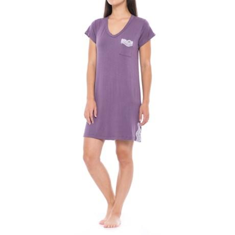 Catherine Malandrino Lace-Trim Sleep Shirt - V-Neck, Short Sleeve (For Women) in Grape Purple