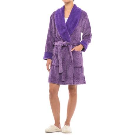 Catherine Malandrino Plush Cable Fleece Robe - Long Sleeve (For Women)