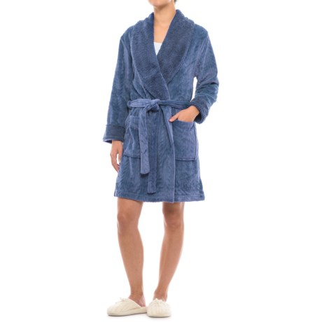 Catherine Malandrino Plush Cable Fleece Robe - Long Sleeve (For Women) in Medieval Blue