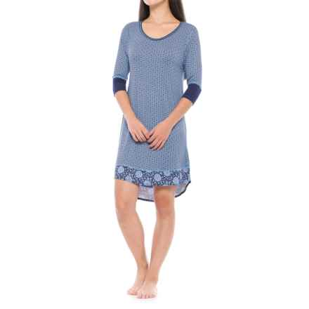 Catherine Malandrino Printed Sleep Shirt - Elbow Sleeve (For Women) in Blue Tile - Closeouts