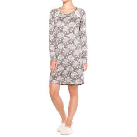 Catherine Malandrino Rose Print Sleep Shirt - Long Sleeve (For Women) in Grey Rose - Closeouts