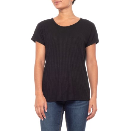 0061b9cdbd020 Catherine Malandrino Variegated Ribbed Dolman Shirt - Short Sleeve (For  Women) in Black -