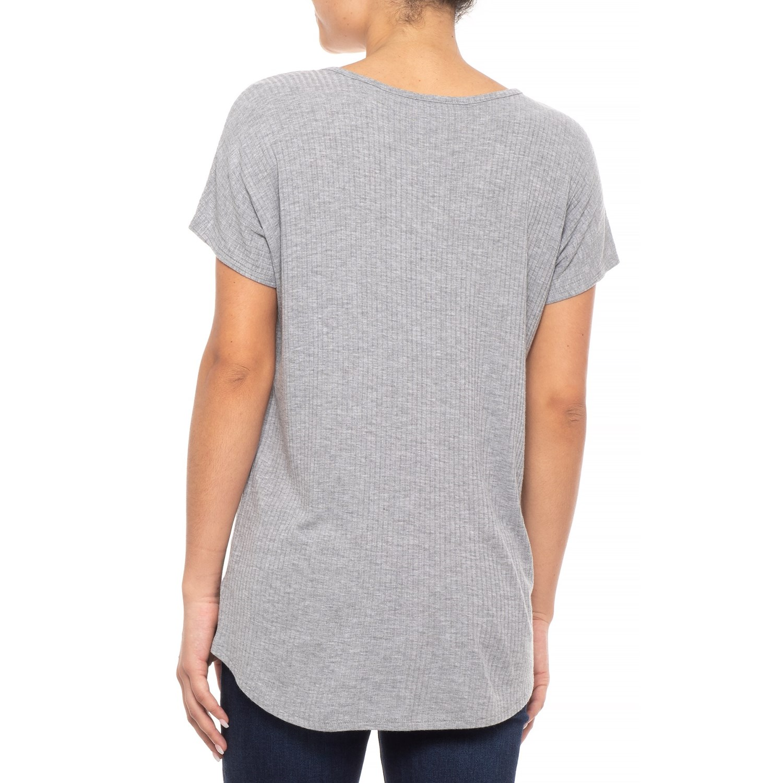 c6f74651cb993 Catherine Malandrino Variegated Ribbed Dolman Shirt - Short Sleeve (For  Women)