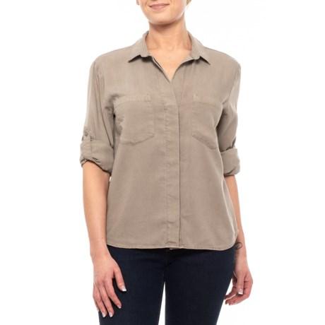 Image of Cement Split-Back Shirt - TENCEL(R) Long Sleeve (For Women)