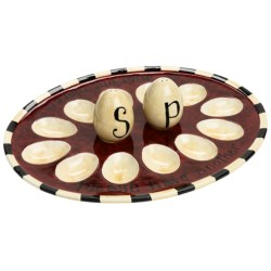 Certified International Deviled Egg Plate with Salt and Pepper Shakers in Family Table